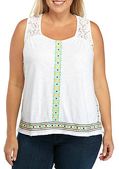 New Directions Weekend Plus Size Sleeveless Embroidered Tape Tee