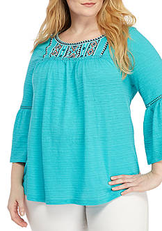 New Directions Weekend Plus Size Embellished Yoke Top