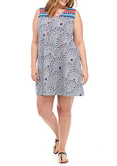 New Directions® Weekend Plus Size Printed Tie Neck Dress