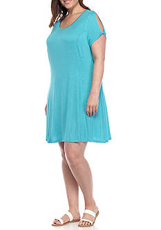 New Directions Weekend Plus Size Solid Knot Sleeve Dress