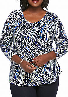 New Directions Plus Size 3/4 Sleeve Braid Printed Knit Top