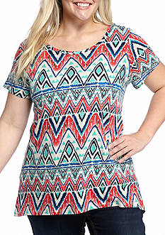 New Directions Weekend Plus Size Chevron Print Tee