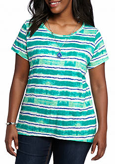 New Directions Plus Size Printed Knit Tee