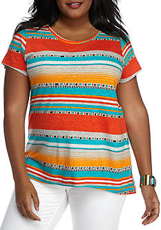 New Directions Weekend Plus Size Knit Stripe Tee