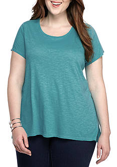 New Directions Weekend Plus Size Solid Knit Tee