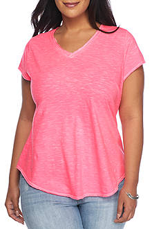 New Directions Weekend Plus Size EDV Short Sleeve Double V Solid Top