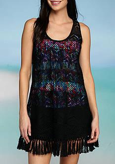 New Directions Crochet Fringe Tank Dress Swim Cover Up