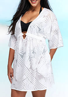 New Directions Plus Size Burnout Ring Swim Cover Up