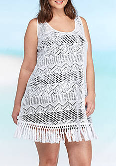New Directions Weekend Plus Size Crochet Fringe Tank Dress Swim Cover Up