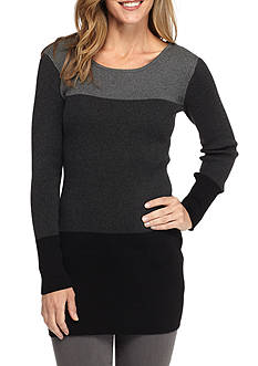 New Directions Rib Knit Colorblock Sweater Tunic