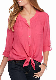 New Directions Solid Gauze Button Front Shirt