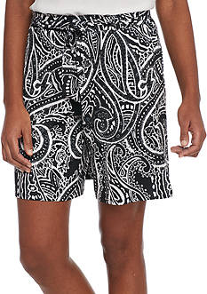 New Directions Paisley Printed Soft Shorts