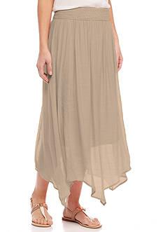 New Directions Solid Gauze Waist Skirt