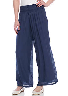 New Directions Solid Gauze Palazzo Pant
