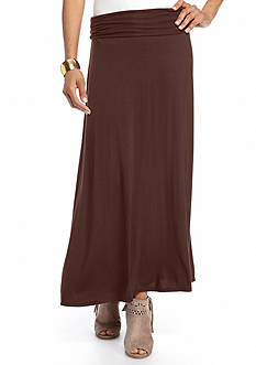 New Directions Solid Ruched Side Maxi Skirt