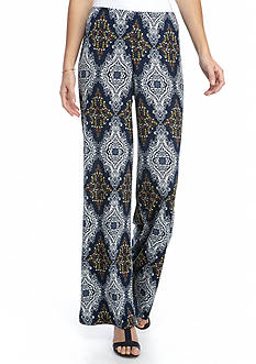 New Directions Allover Printed Pull-On Palazzo Pant