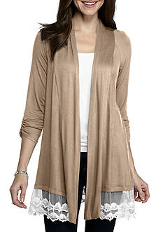 New Directions Solid Lace Hem Cozy Cardigan