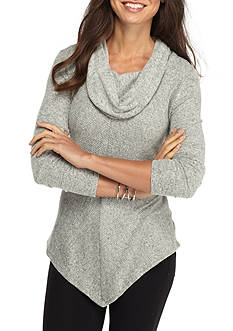 New Directions Brushed Rib Cowl Neck Sweater