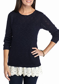 New Directions Lace Hem Sweater