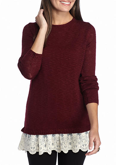 New Directions® Lace Hem Sweater