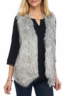 New Directions Faux Fur Sweater Back Vest