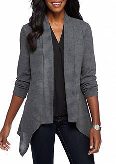New Directions Waffle Pointed Hem Cozy Top