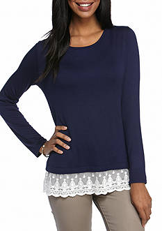 New Directions Lace Hem Knit Top