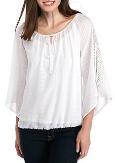 New Directions Grid Detailed Chiffon Blouse