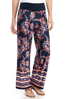 New Directions Jersey Knit Floral Palazzo Pant