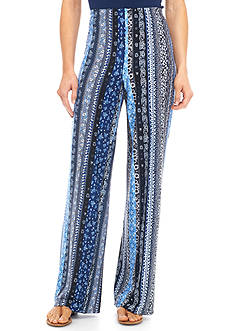 New Directions Printed Knit Palazzo Pant