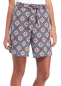 New Directions Printed Tie Waist Shorts