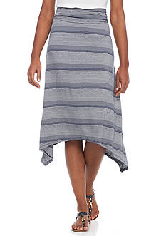 New Directions® Striped Sharkbite Knit Skirt
