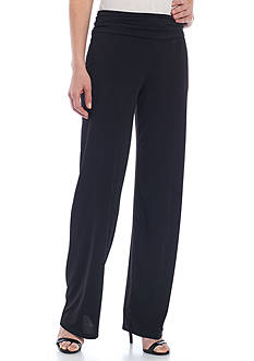 New Directions Solid Ruched Waist Pants