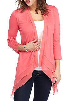 New Directions Solid Chiffon Hem Cozy Top