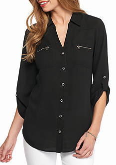 New Directions Solid Zip Pocket Shirt