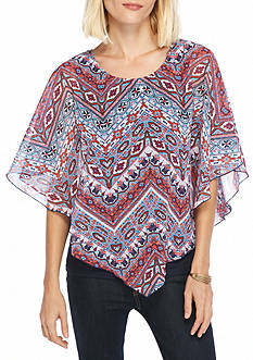 New Directions Printed Popover Blouse