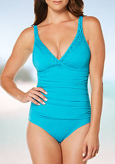 Jantzen Signature Pin-Tucked Surplice One Piece Swimsuit