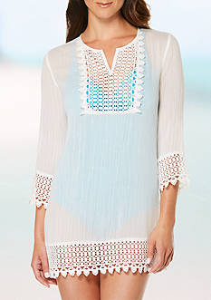 Jantzen Crochet Trim Swim Tunic Cover Up