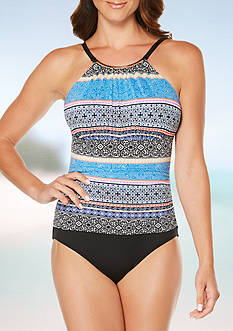 Jantzen Batik Stripe Hi-Neck One Piece Swimsuit