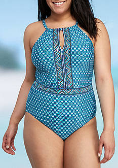 Jantzen Plus Size Wow Factor High Neck One-Piece Swimsuit
