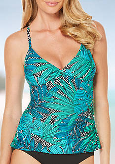 Jantzen Palm Springs V-Neck Tankini Swim Top