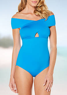 Jantzen Cold Shoulder One Piece Swimsuit