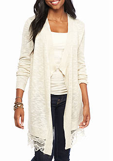 Red Camel Long Solid Cardigan with Lace Trim