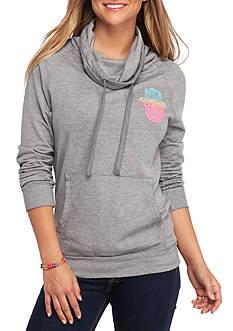 Derek Heart Burnout Cowl Pullover Sweatshirt