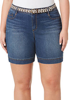 Bandolino Petite Size Amalia Belted Denim Shorts