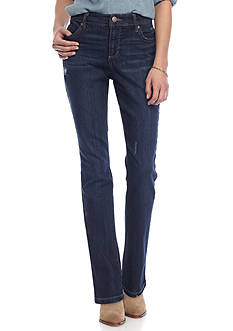 Bandolino Petite Size Destroyed Rail Straight Jeans