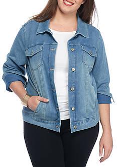 Bandolino Plus Size Knit Denim Jacket