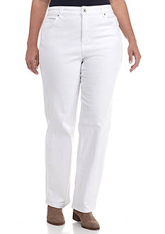 Bandolino Women's Plus White Regular Fit Pant