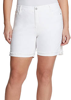 Bandolino Plus Size Mandie Embroidered Roll Short