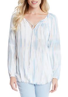 Karen Kane Tie Dye Peasant Top